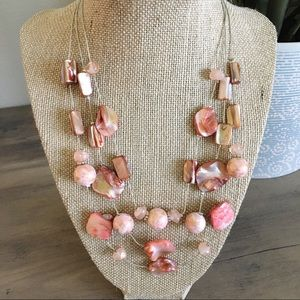 {New York & Co} Triple Strand Beaded Pink Necklace